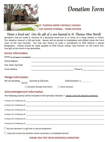 Church donation in Memory of a Loved One