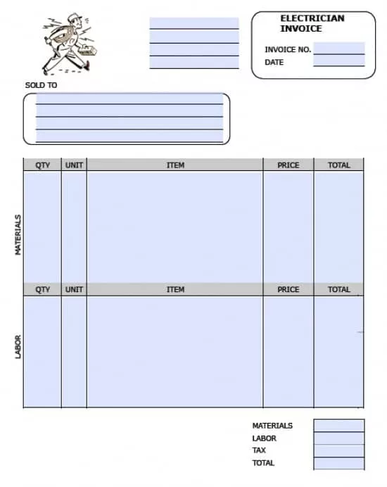 Electrical Contractor Invoice Templates
