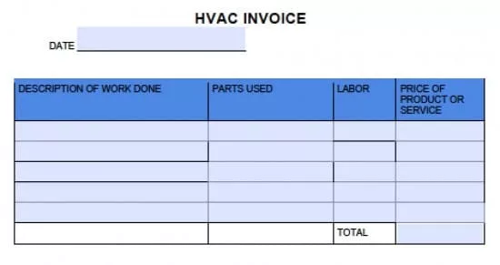HVAC Contractor Invoice Template with due date