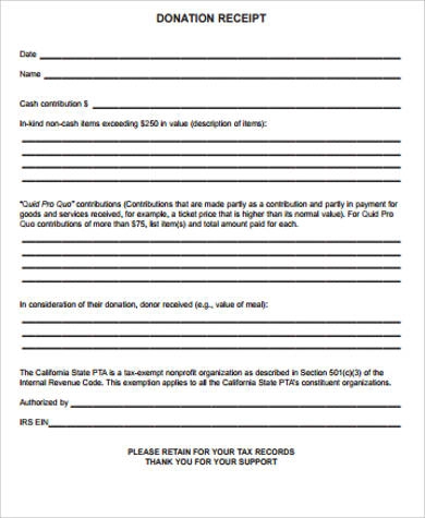 PTA Donation Receipt