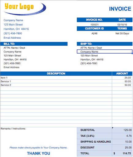 professional invoice template for a contractor services to business clients payment